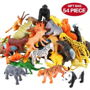 Animals Figure,54 Piece Mini Jungle Animals Toys Set